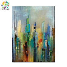 Large 100% Handpainted city view Abstract Morden Oil Painting On Canvas Wall Art green Wall Pictures For Live Room Home Decor