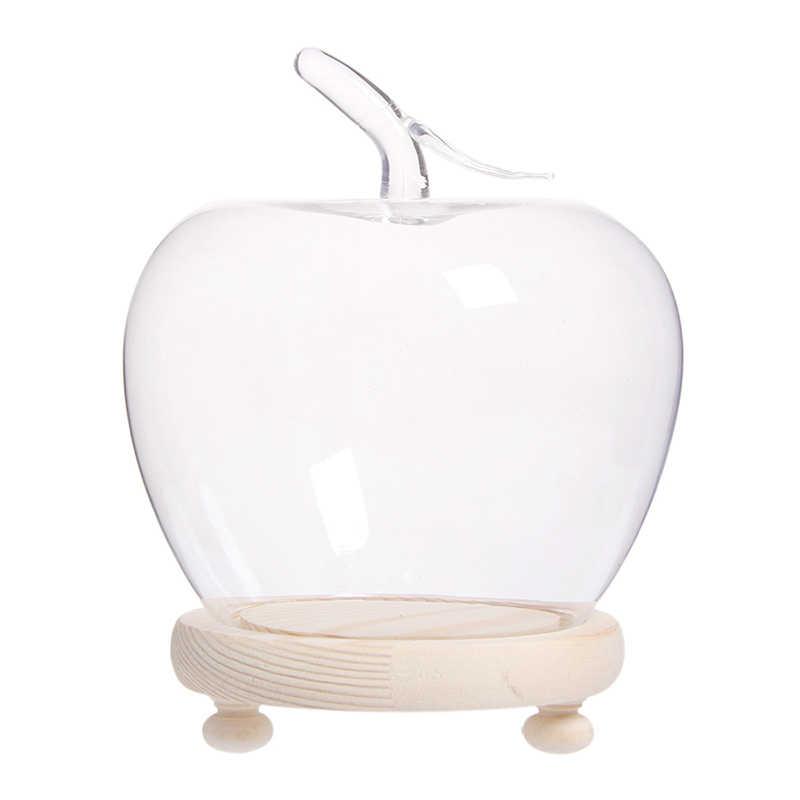 VORCOOL Cloche a Cupola in Vetro Trasparente con Base in Legno Rustica E Manico a Forma di Angelo Vetrina con Campana a Cloche Centrotavola da Tavolo per Dessert Fiore