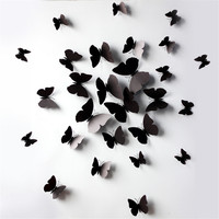 12pcs 3D Butterfly Wall Decals Butterfly Wall Sticker For Home Decoration Room Bedroom Kitchen Toilet Party