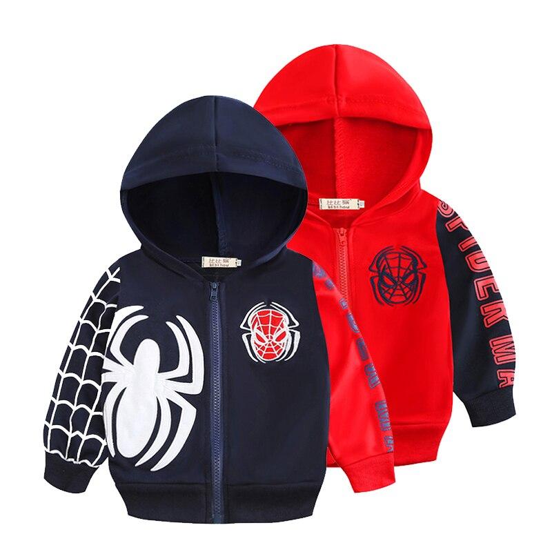 Boys Sweatshirts Spring-Coat Spiderman Long-Sleeve Jacket Zipper Baby Autumn Children