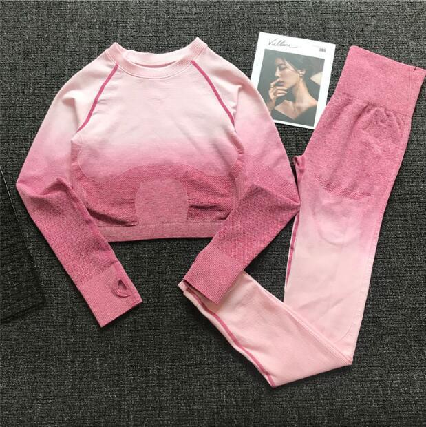 Women Seamless Yoga Set Gym High Waist Ombre Leggings T-Shirts Top Suit Long Sleeve Fitness Workout Sport Running Sportswear Set