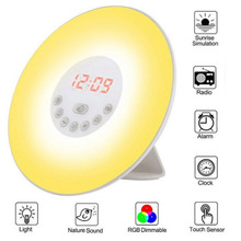 цена на 7 Color Change Sunrise Digital Alarm Clock Touch Sensor Wake-up Light Alarm Clock With FM Radio Snooze Bedside Atmosphere Lamp