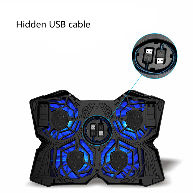 New  Laptop Cooler USB Laptop Cooling Pad 4 Fans Notebook Stand LED Backlight for Laptops Gaming Daily Use 3