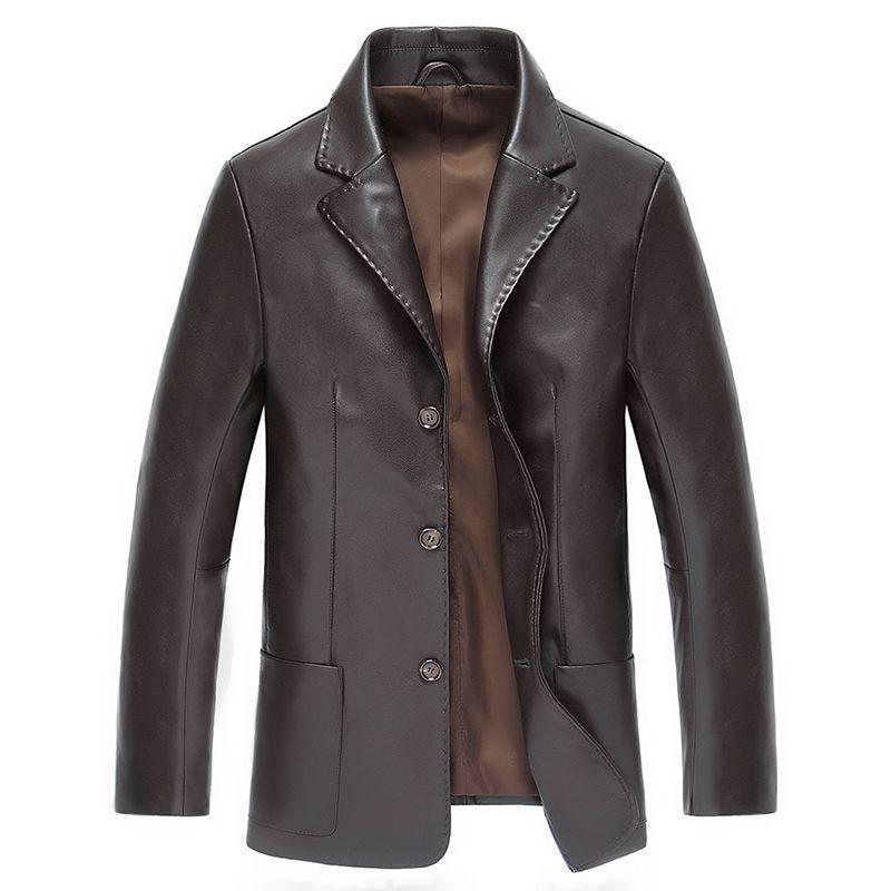 Новинка 2017 года Для мужчин Кожаная куртка Демисезонный Для мужчин мягкие Босоножки из  ...