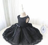 Black Arab one year baby birthday girl dress crew neck lace appliques mini kids pageant glitz dresses with bow