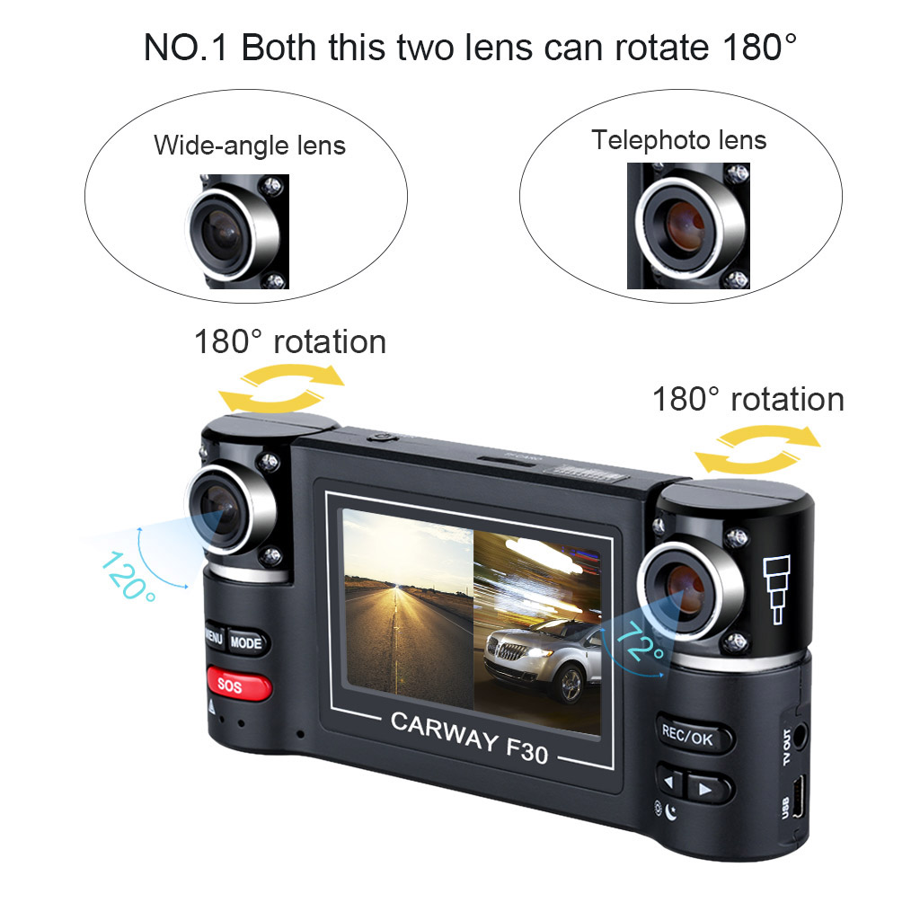 1080P 2.7/'HD LCD Dual Lens Car Dash Camera Video DVR Cam Recorder Night Vision