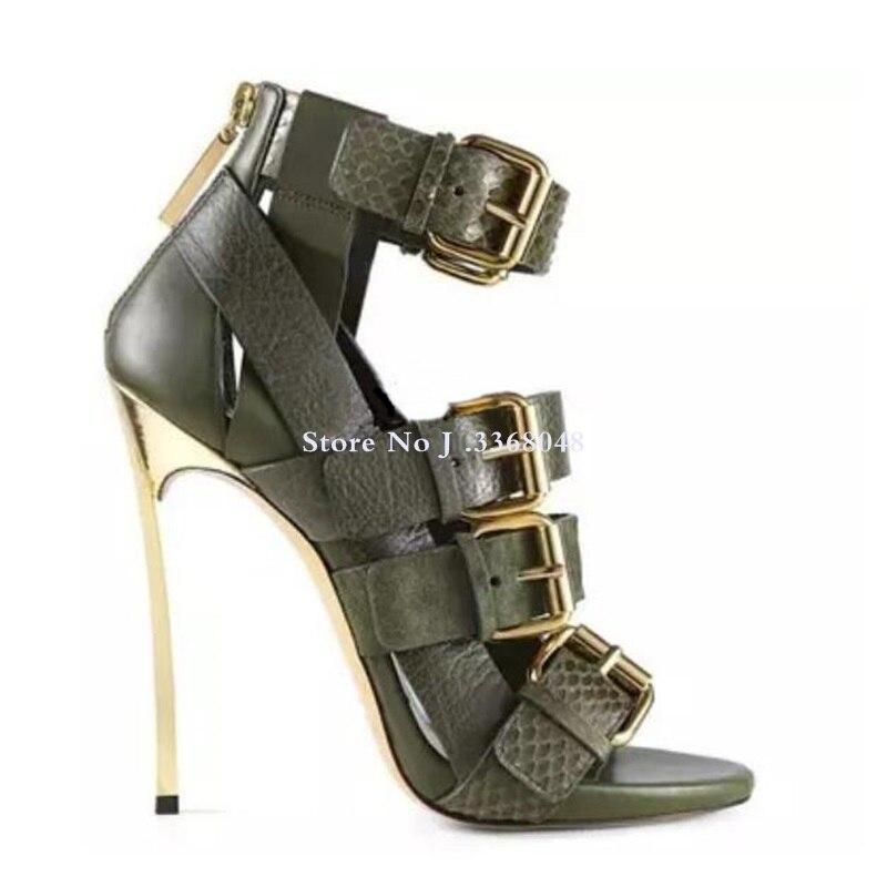 Chaussures femme en cuir véritable boucle cheville Peep Toe sandales femmes lame talon arrière fermeture éclair découpé gladiateur bottes sandale pour femmes - 6