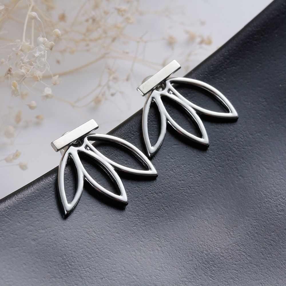 New Fashion Jewelry Bạc Vàng Đơn Giản Tuyên Bố Rỗng Sen Charm Đúp Sieded Stud Earrings Boucle d oreille Vintage Earring
