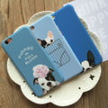 Симпатичные Голубой Собаки Французский бык собака жесткий PC Phone Случаи Для IPHONE 5, 5S, SE, 6,6 S, 6 plus, 6 Splus мультфильм Щенок Коке Fundas
