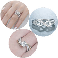 Mling Fashion 925 Sliver Rings Infinity Love Ring Wedding Band Crystal Rings For Women Friendship Party Jewelry Gifts bague ED5(China)