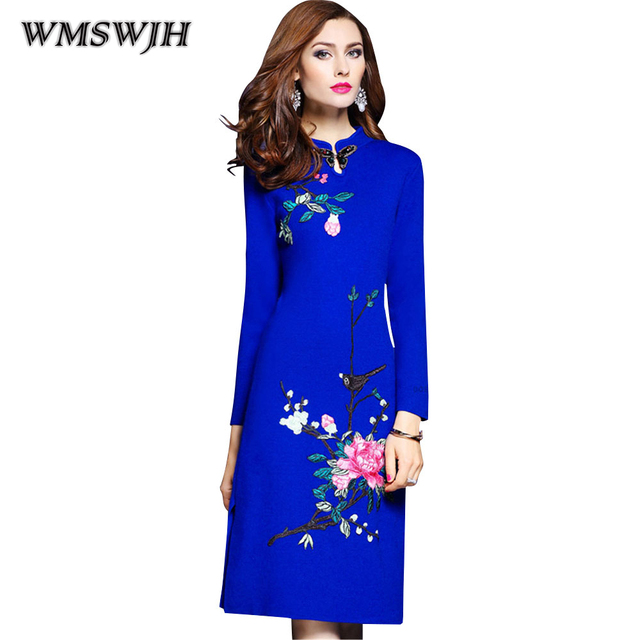 cde65f1fae271 Wmswjh High Quality Knitted Sweater Embroidery Dress 2018 Winter Knitted  Blue Color Dress Fashion Long Sleeves Large Size Dress-in Dresses from ...