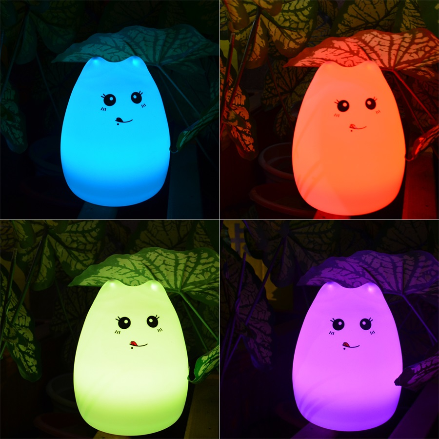 Silicone Touch Sensor LED Night Light For Children Baby Kids 7 Colors Cat LED USB LED Night Light