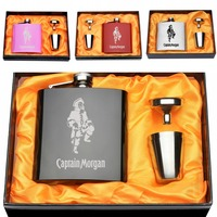 Set Of Engraved Stainless Steel 6oz Captain Morgan Hip Flask Set Funnel 2 Cups White Lining