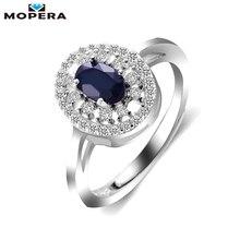 Mopera Принцесса Диана 0.8ct натуральным кольцо с сапфиром стерлингового серебра 925 Свадебные Обручальные кольца для Для женщин бренд Красивые ювелирные изделия