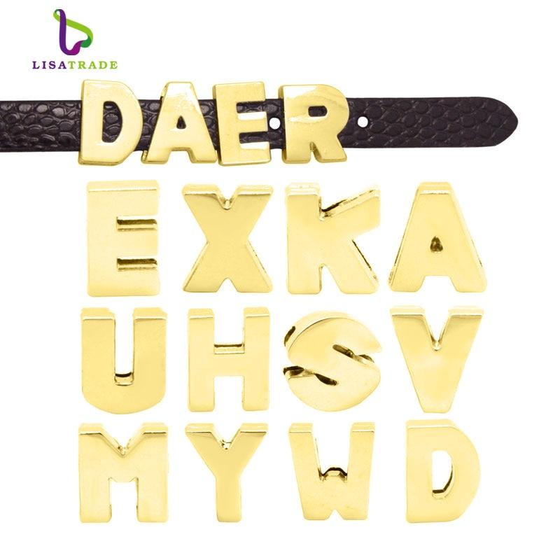 8mm gold plain slide letter charms a z each letter 50pcs fit diy