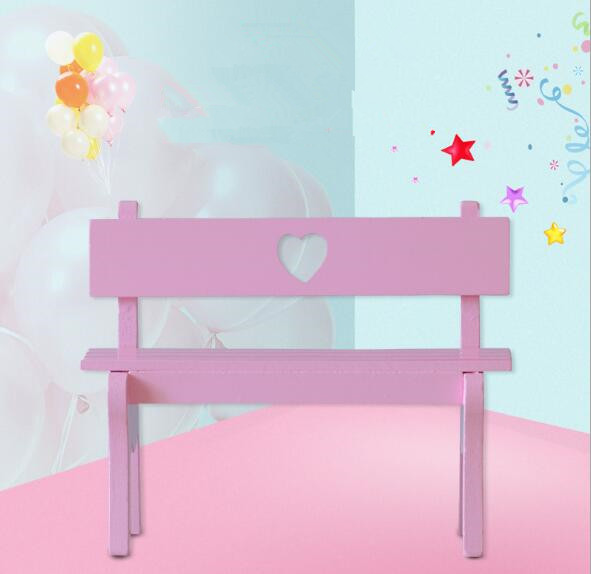 1PC Wood Crafts Household Decoration Photography Props Hollow Love Park Bench Wooden Cha ...