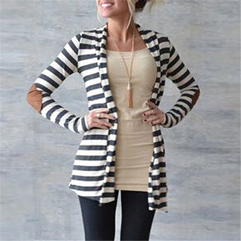 Women's Casual Long-sleeved Sweater Arm Patches Striped Cotton Blend Cardigan Jacket for Female 2017 New Arrival Spring Autumn