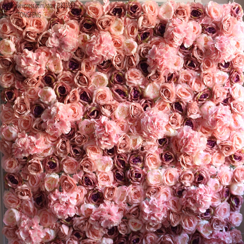 TONGFENG 25pcs lot Artificial silk rose flower wall wedding backdrop decoration Flower runner wedding Flower stage