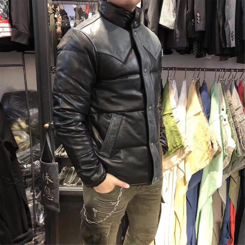 new 2018 men's genuine sheepskin leather duck down coat winter jacket for male patchwork stand collar black blue plus size xl