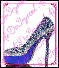 Aidocrystal Free Shipping 2016 hot selling hand made glitter blue rhinestone lady sexy shoes high heels women pumps