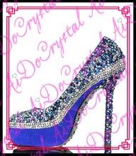 Aidocrystal Freies Verschiffen 2016 heißer verkauf handgemachte glitter blau strass dame sexy schuhe high heels frauen pumpt