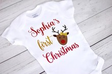 personalize name My first Christmas reindeer baby shower toddler outfit bodysuit onepiece romper kids t shirts birthday tees(China)