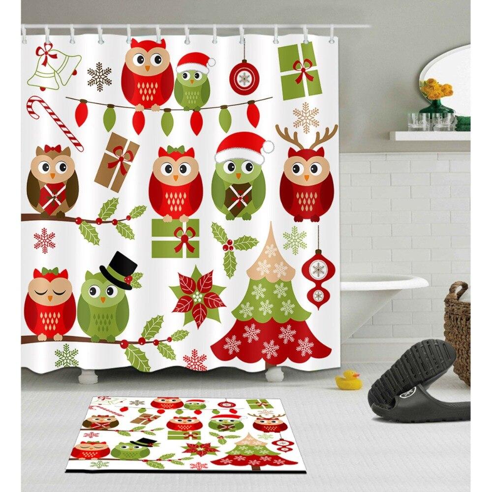 Shower Curtain Christmas Cartoon Owl
