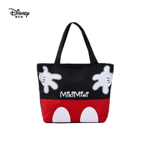 Disney mickey mouse summer canvas shoulder bag cartoon portable green shopping gift handbags 40*31