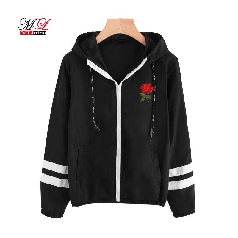 MLinina Varsity-Striped Zip Up Hooded Women   Jacket   Coat Women Clothes Zipper Windbreaker Black Embroidery Short   Basic     Jackets