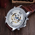 GOER Top Brand Luxury Automatic Mechanical Skeleton Watches Fashion Casual Skull Watch PU Leather Men Watches relogio masculino