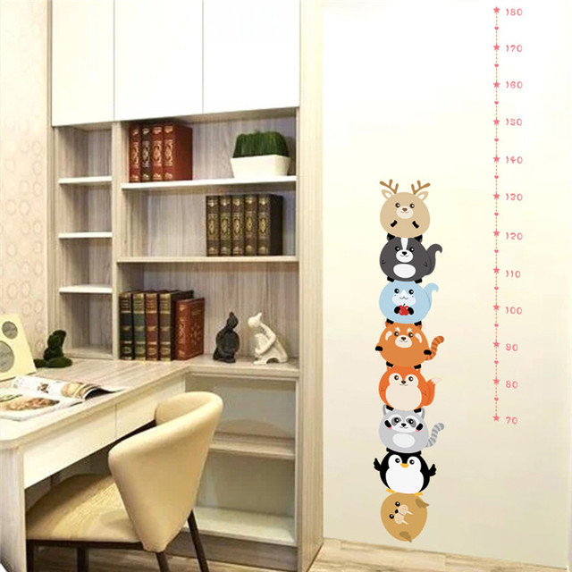 Funny Animals Height Measure Wall Stickers For Kids Rooms Decals Bedroom Nursery Ruler Growth Chart