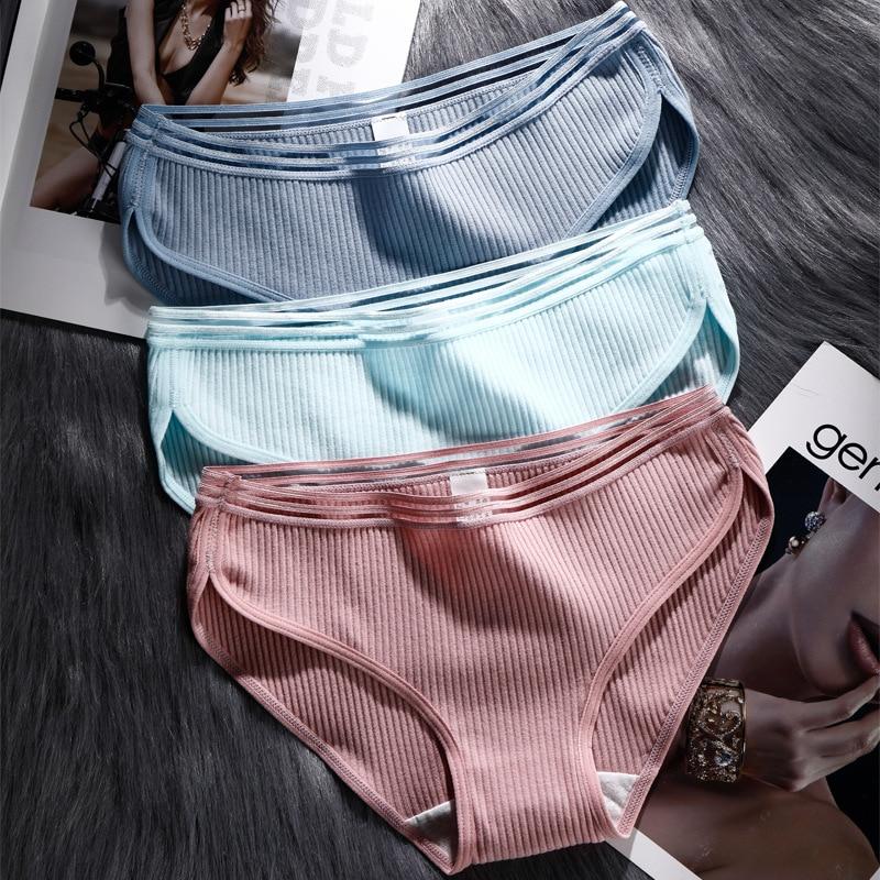 Calcinha feminina 2020 algodão cor sólida gril briefs sexy lingerie feminina casual cueca das senhoras cuecas íntimas