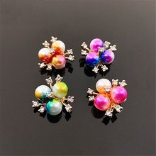 Colored Gradient Pearl FLower Charms Gift DIY Hair Ornament Material Headdress Bag Clothing Jewelry Accessories(China)