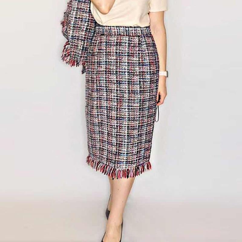 Tweed jupe femmes rouge Plaid 2019 printemps/automne femmes jupe dames tissage dans une longue jupe (fentes jupe plus tard)