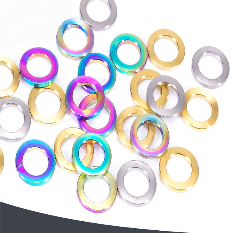 10pcs M5/M6/M8/M10 golden Titanium color Dazzle color Flat pad of titanium alloy gasket Bicycle washer image