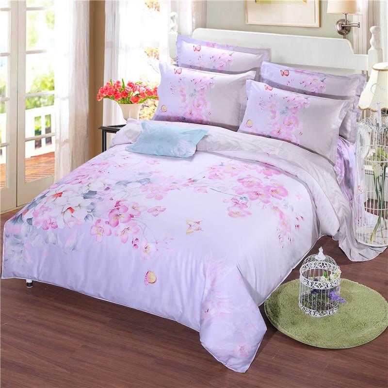 Bedroom Decor Sets: Vivid Light Pink Flower Printed Bedding Sets Coverlets