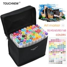 Touchnovo 168 cores pintura artística manga arte marcador, caneta cabeça álcool arte graffiti conjunto marcadores de designer