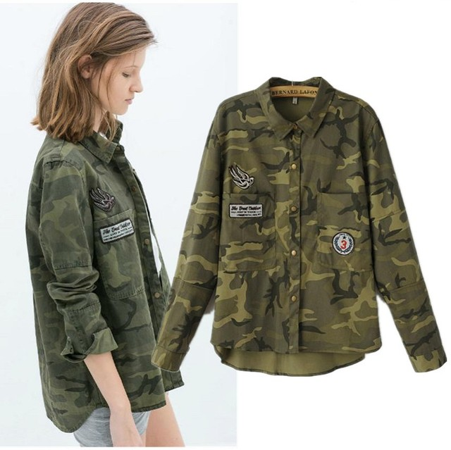 new military jacket women slim camouflage veste militaire femme women basic coats 6ct004 in. Black Bedroom Furniture Sets. Home Design Ideas