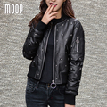 Winter women genuine leather down coat rivet decor black 100% sheepskin real leather motorcycle jacket abrigos mujer LT1008