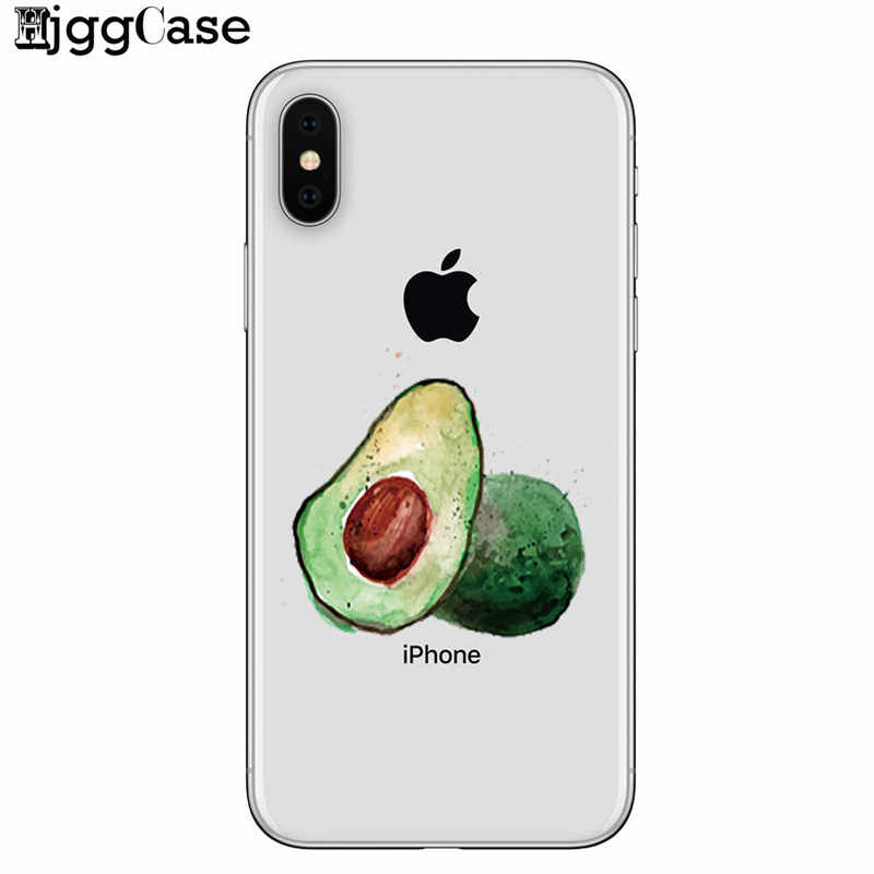 Para iPhone Coque 7 abacate Caso de Telefone TPU macio Capa de silicone Para o iphone 7 7 Plus 8 8 Plus 6 6 s Plus X XS MAX XR 5 5S SE Caso