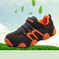 2016 Outono Crianças Sapatilhas Meninos Meninas sapatos de Couro Criança Gaze Respirável Tênis De Basquete Crianças Esportes Criança Correndo Sapatos Footb