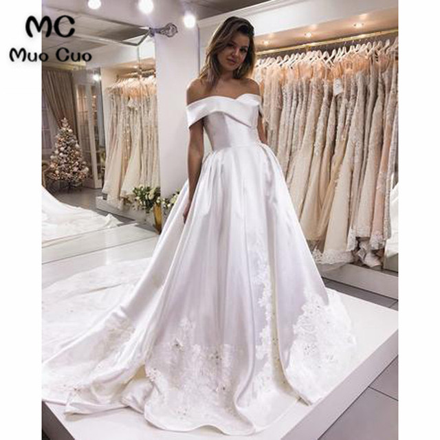 2018 Vintage Off Shoulder Wedding Dresses A Line Gown Vestido De Noiva Short Sleeve