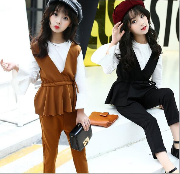 046a47f4a07eb US $22.99 |2019 autumn children's clothes girls sets solid sleeveless kids  girl sets for girls formal suits vest++pants+tshirt 3 pieces set-in ...