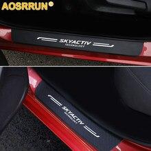 Karbon fiber PU deri kapı eşiği tıkama plakası araba aksesuarları Mazda CX-8 CX-9 2016 2017 2018 Mazda 3 AXELA araba araba-styling