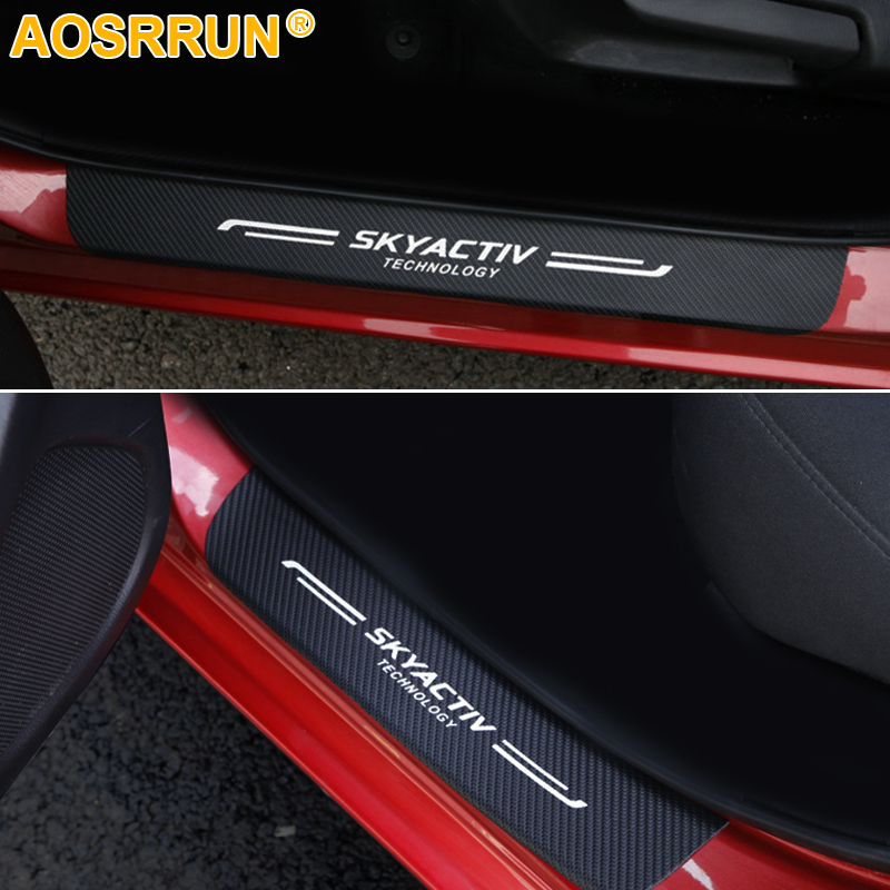 Carbon fiber PU leather Door sill Scuff plate Car <font><b>Accessories</b></font> For <font><b>Mazda</b></font> CX-8 CX-9 2016 2017 <font><b>2018</b></font> <font><b>Mazda</b></font> <font><b>3</b></font> AXELA Car-styling image