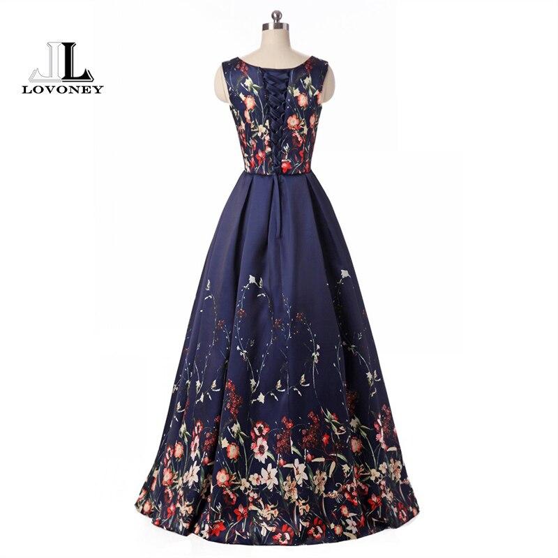 LOVONEY longues robes de soirée 2019 élégant imprimé Floral mode robe de soirée formelle robe de soirée robes à lacets dos HPS202 - 2