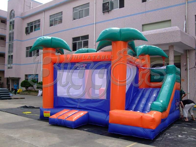 FREE SHIPPING BY SEA Factory Price Commercial Inflatable Bounce House Inflatable Trampoline With Inflatable Slide For Kids free shipping by sea pvc commercial inflatable slide jumping slide with double lane for sale