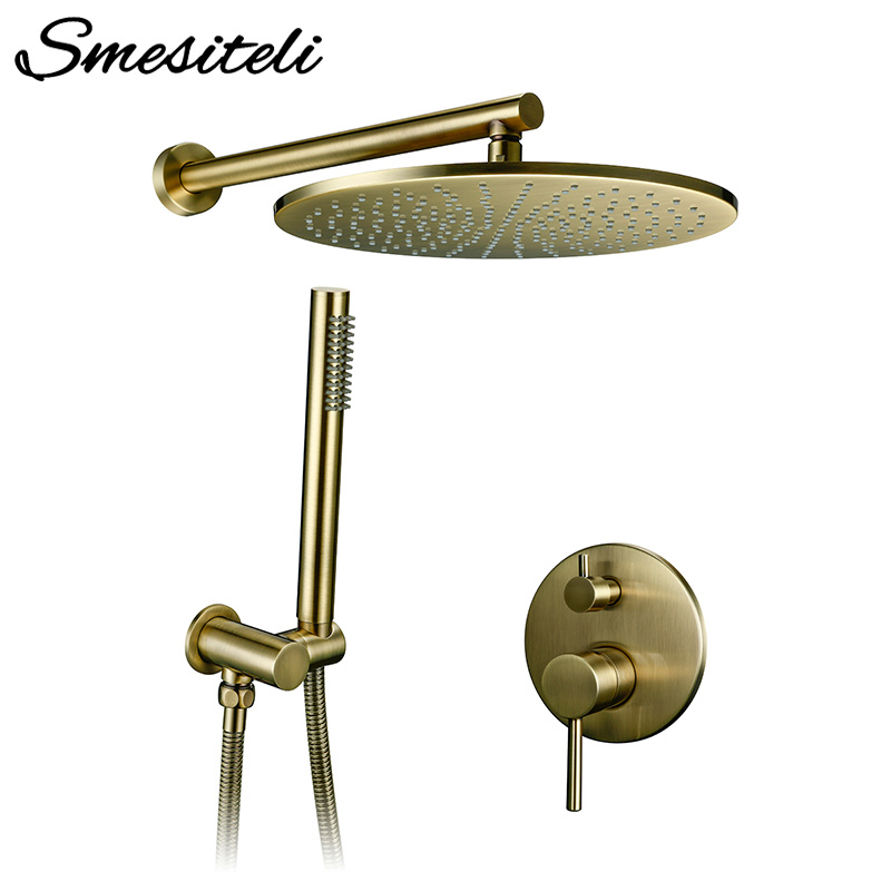 8/10/12 inch Solid Brass Shower Set Bathroom Round Head Faucet Luxury Gold HandShower Diverter Mixer Golden Handheld Spray SetShower System   -