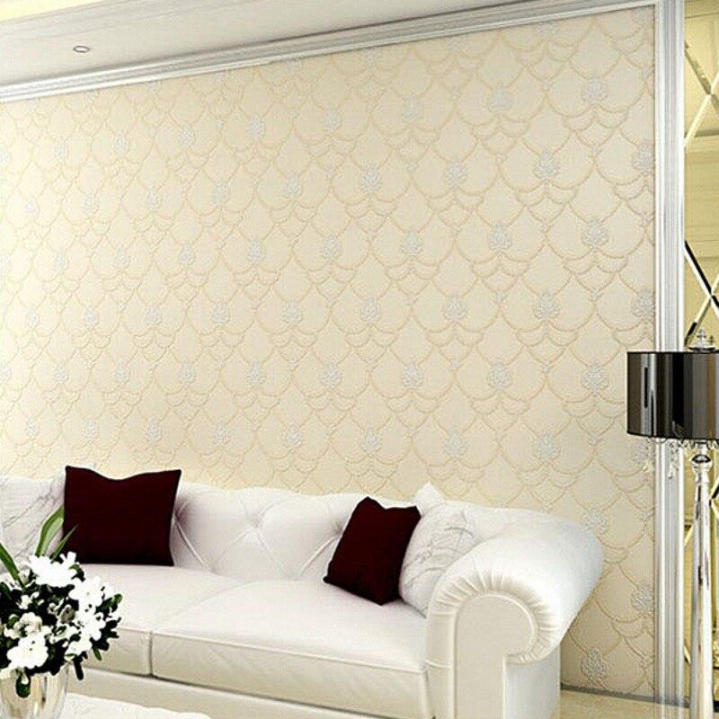 Купить с кэшбэком beibehang Non Woven Embosed Flocking Wall Paper Europea 3d Floral Pattern Damask Wallcovering Minimalist Modern Style Wallpaper