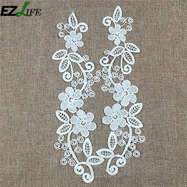Aliexpress Buy 1pair White Lace Applique Embroidery Flower